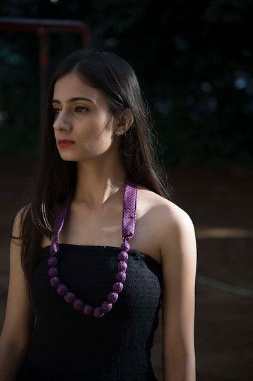 Purple Designer Neckpiece with Beads and Fabric
