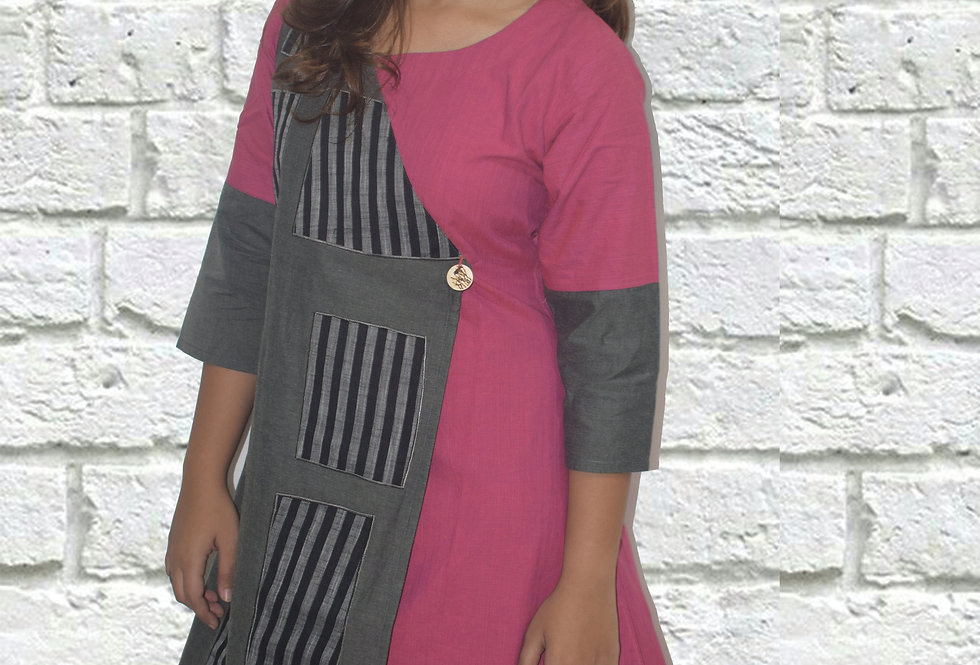 Pink and Grey Overlap Casual Designer Dress for Women