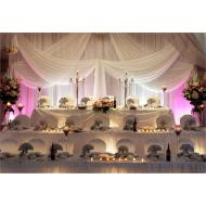 Drape backdrop with sheer fabric and uplights, large tierd stage for bridal party