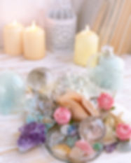 gemstones crystal minerals and sea shell