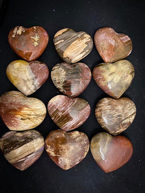 A-grade Petrified wood carved hearts