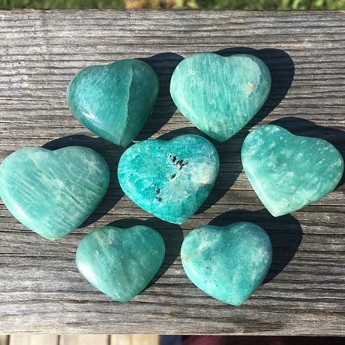 Gorgeous Amazonite hearts from Madagascar