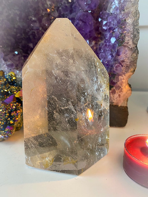 Large Quartz point with Hematite inclusion (golden healer)