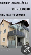 Aluminium Geländer, VSG Glasdach, VSG Glas Trennwand