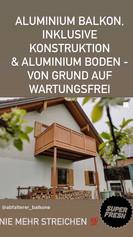 Aluminium Balkon, inklusive Konstruktion & Aluminium Boden! Von Grund auf WARTUNGSFREI!