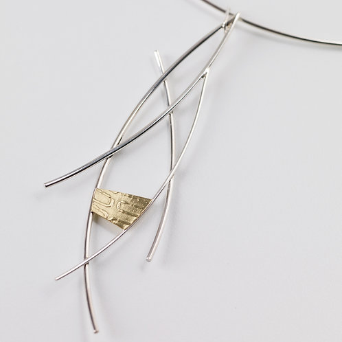 Silver Wire Necklace with 18ctY Gold Panel