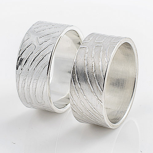 Sterling Silver Roll-Printed Rings