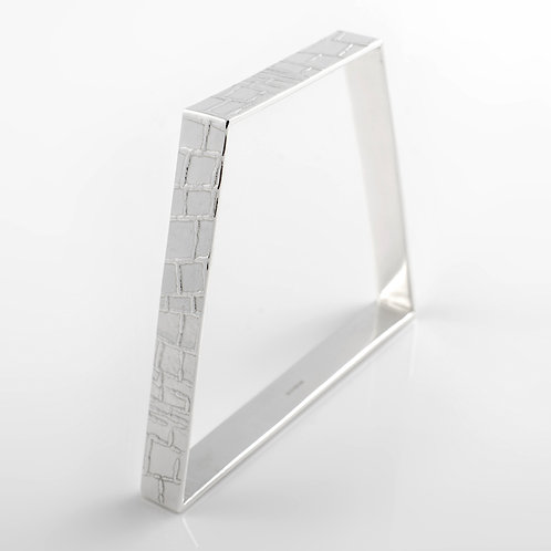 Roll-Printed Sterling Silver Off Square Bangle