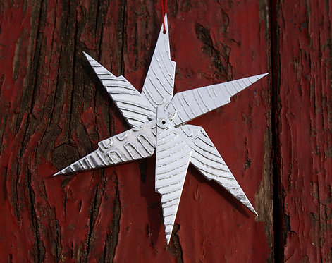 Roll-Printed Sterling Silver Christmas Star (2)
