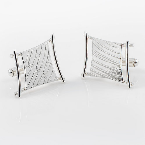 Roll-Printed Sterling Silver Wire Cufflinks