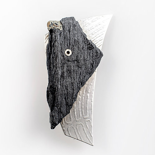 Sterling Silver & Ballachulish Slate Pin Brooch