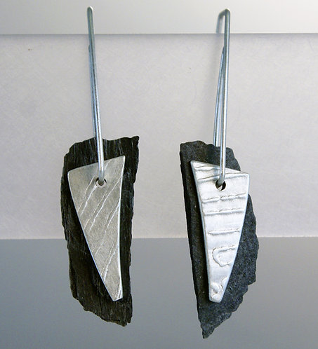 Silver & Scottish Ballachulish Slate Earrings