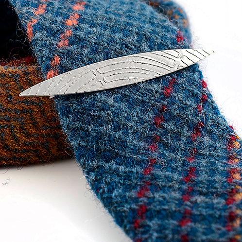 Roll-Printed Sterling Silver Tie Slide.
