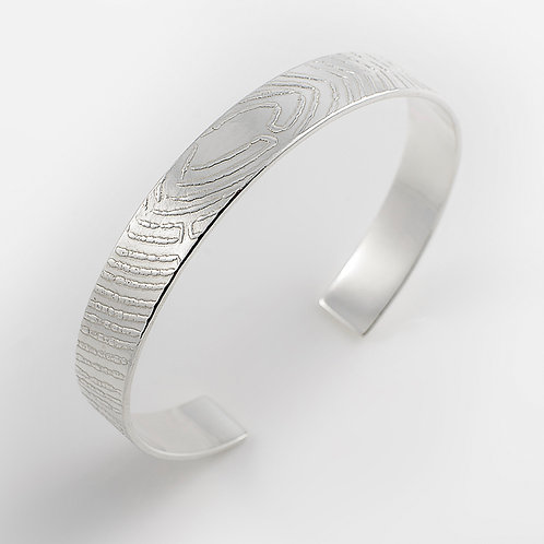 Roll-Printed Sterling Silver Torque Cuff Bangle