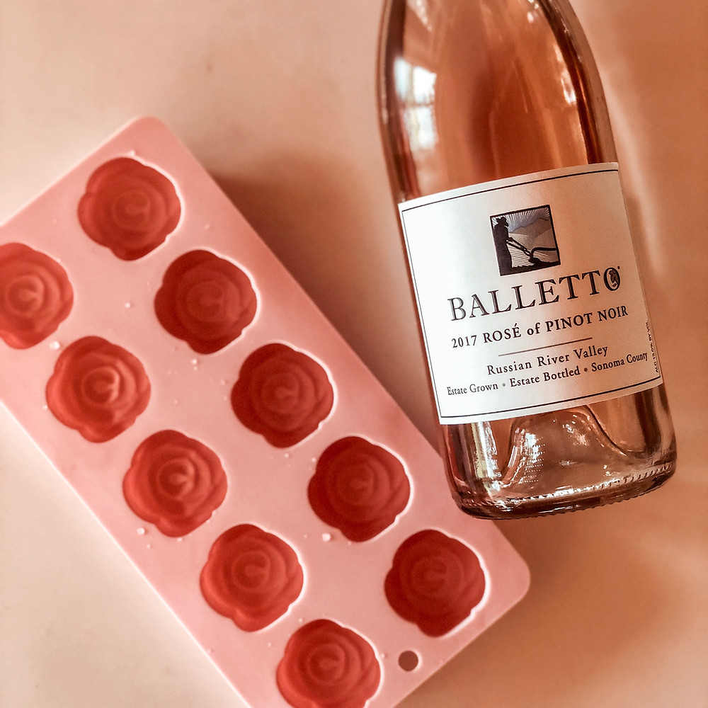 sonoma grape girl, audra tavelli, wine blogger, rosé ice cubes, keep your wine cold, cold rosé, #roséallday, balletto rosé, sonoma county rosé, russian river valley, russian river valley rosé of pinot noir, rosé of pinot noir