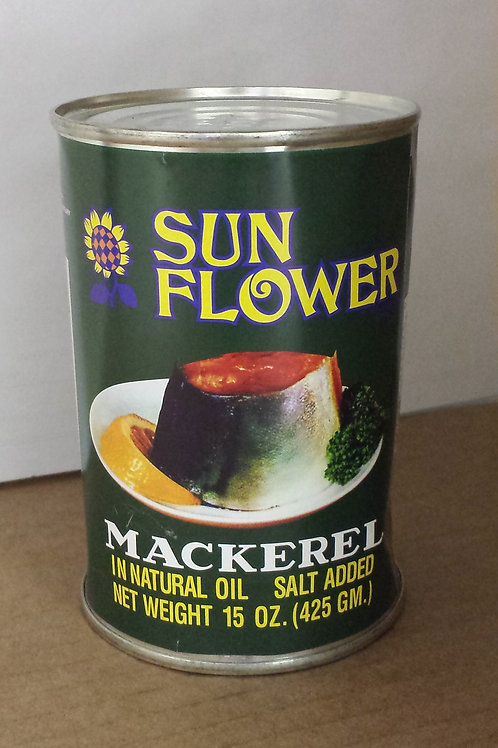 Sun Flower Mackerel in Natural Oil Green 15oz 4 cans Free Shipping