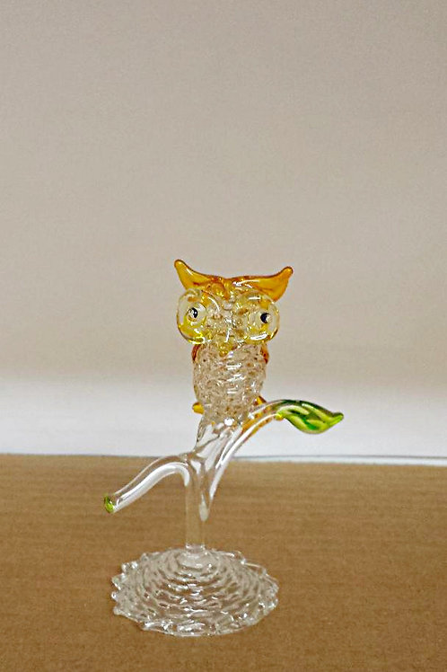 "Miniature Crystal Owl on Perch 4""overall Free Shipping"