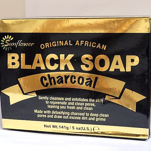 Sun Flower Black Soap Charcoal 5oz 3 bars Free Shipping