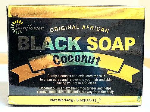 Sunflower Black Soap Coconut 5oz 3 bars Free Shipping