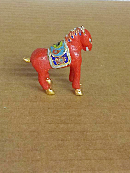 "Miniature Cinnabar Cloisonne Horse 2"" high x 1.75"" long Free Shipping"