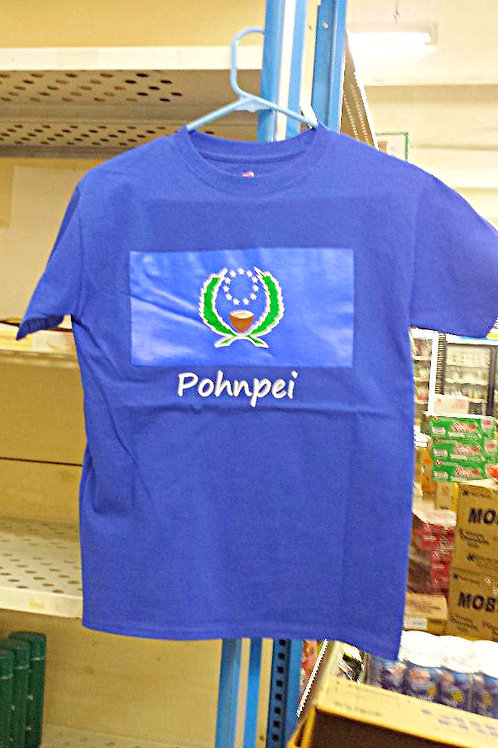 100% Cotton T-Shirt Pohnpei & Flag Design Free Shipping for purchase of 3 shirts