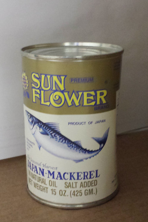 Sun Flower Mackerel in Natural Oil Premium 15oz 4 cans Free Shipping