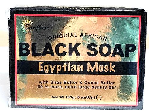 Sunflower Black Soap Egyptian Musk 5oz 3 bars Free Shipping