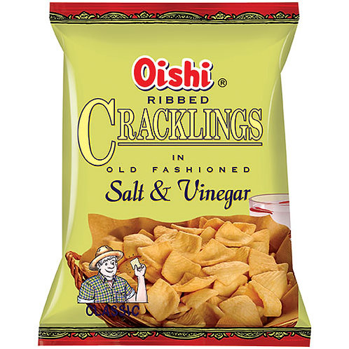 Oishi Ribbed Cracklings in Salt & Vinegar 100gm 6 pkg Free Shipping