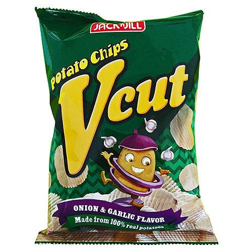J&J Potato Chips Vcut onion Garlic 60gm 5 pkg Free Shipping