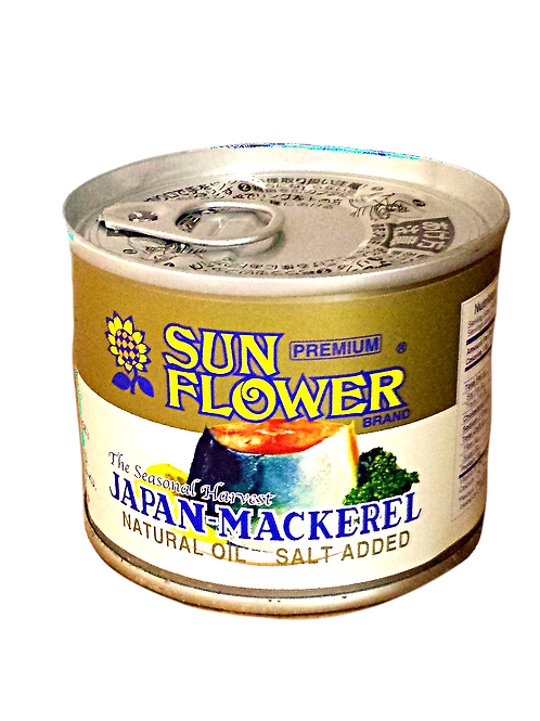Sun Flower Mackerel in Natural Oil Premium 190gm 6 cans Free Shipping