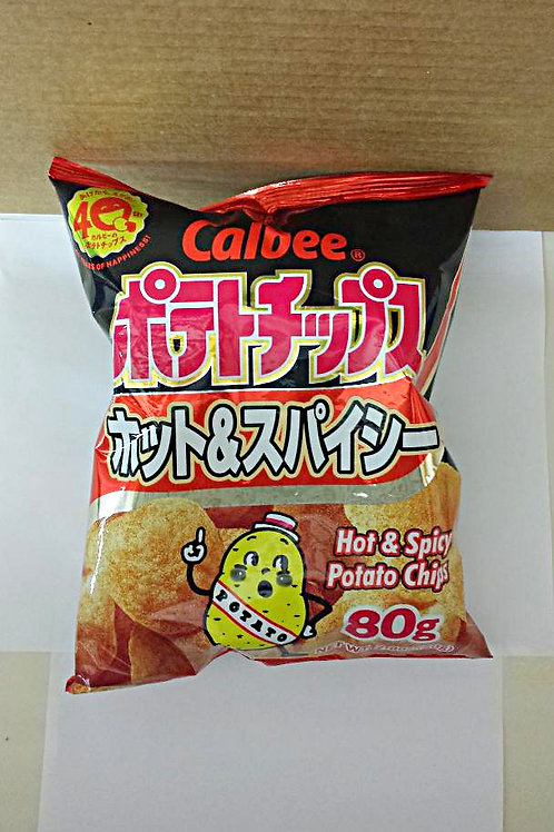 Calbee Hot & Spicy Potato Chip 80gm 3 pkg Free Shipping