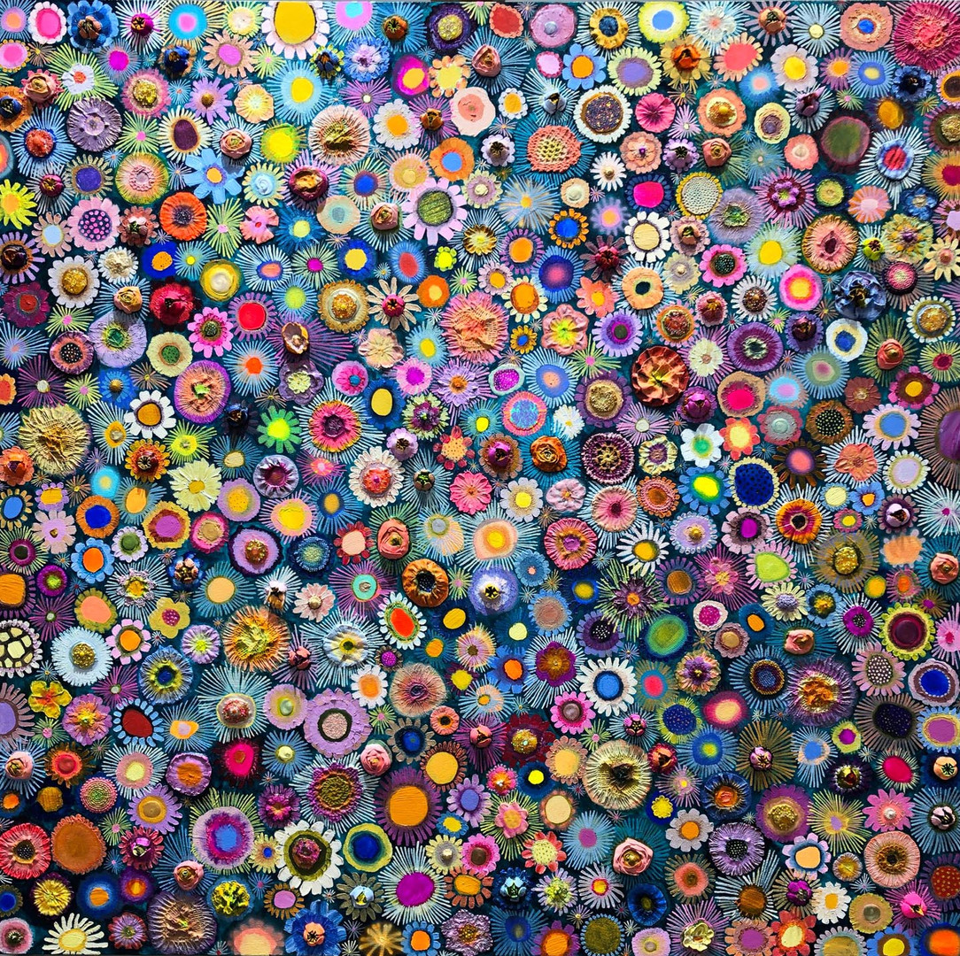 """Flower Couture  $5200 SOLD  48""""x48""""  Oil, acrylic, fabric, lace and found objects on a hand-made heavy-duty canvas."""