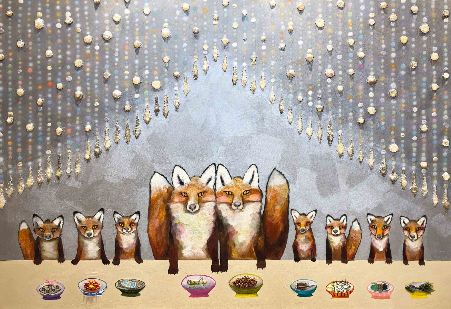 """Fox Familia  $6200  SOLD  60"""" x 42""""  Oil and mixed media on a hand made heavy duty canvas."""