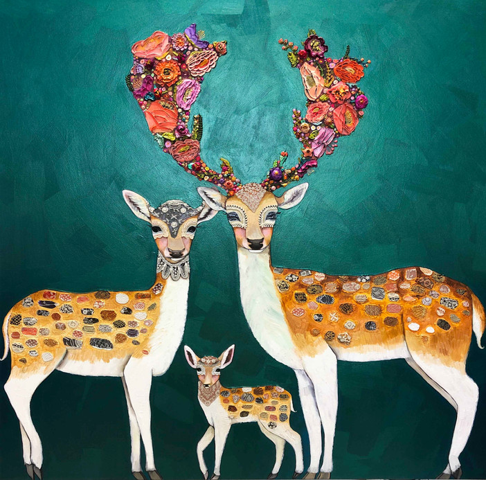"""Fallow Deer Family  $6200 SOLD  60""""x60""""  Oil, acrylic and lace on a heavy duty hand made canvas."""