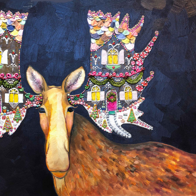"""Gingerbread House Moose 42""""x60"""" $6200"""