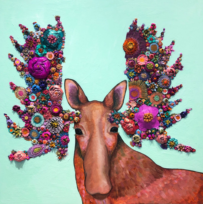 """Blooming Moose  $3900 SOLD  36""""x36""""   Oil and mixed media on a birch and maple wood panel."""