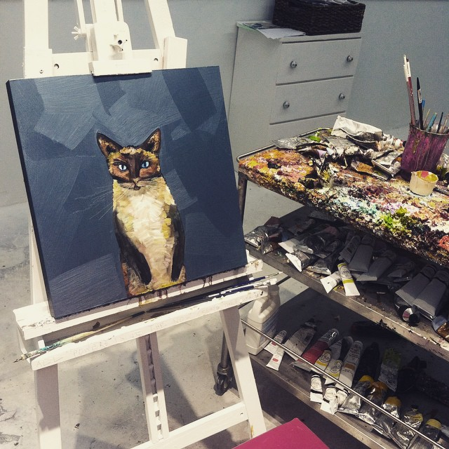 How did that cat painting get on my easel