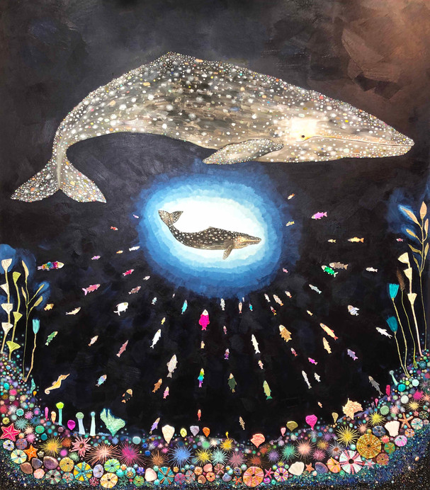 """Gray Whale Calf $9800  84"""" x 72""""  Oil, acrylic, pearls, glass, sand, glitter, paper, fabric, ribbon and found objects on a hand made heavy duty 3"""" thick canvas.  This is an original oil painting. The sides are painted gloss black and there is a wire on the back. It comes ready to hang with no framing needed.  Contact eli@elihalpin.com for purchasing.   Payment plans accepted."""