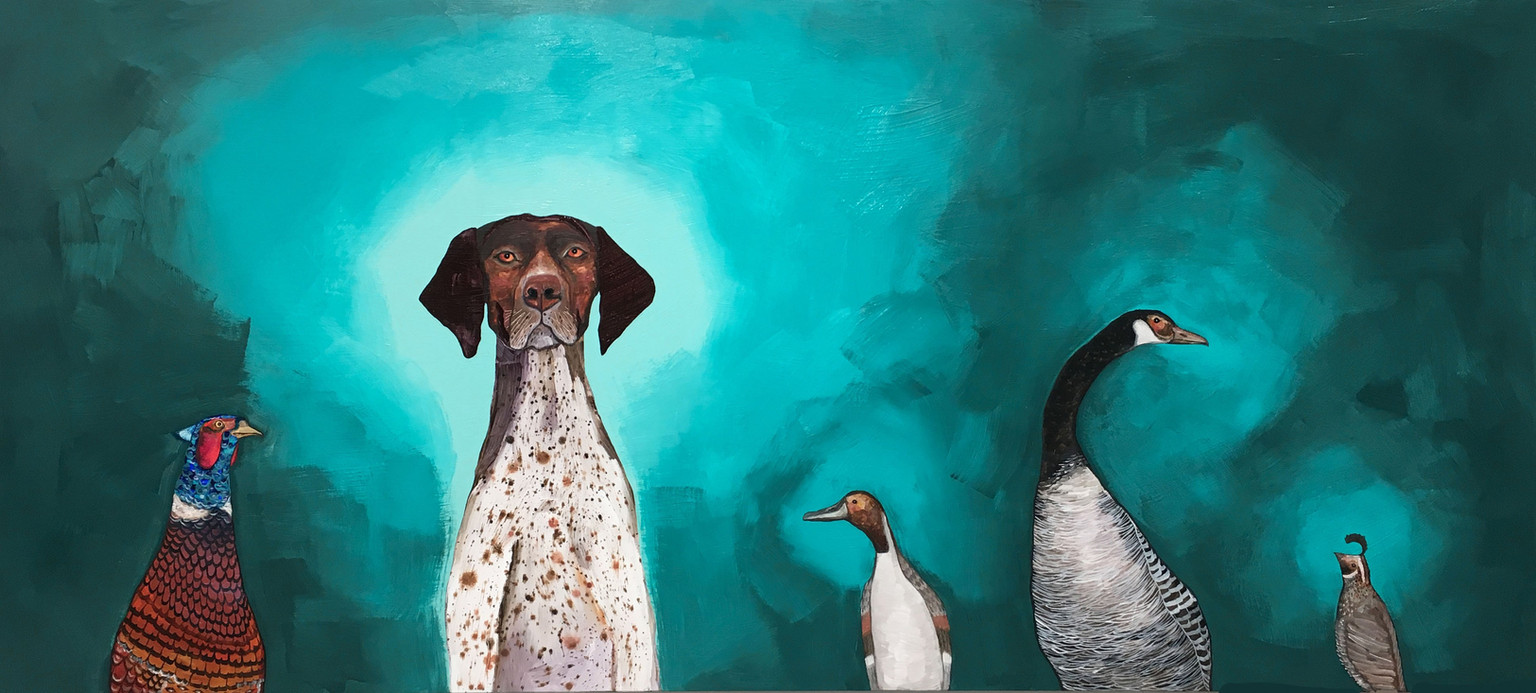 """German Shorthaired Pointer $4800  2017  80"""" x 36""""  Oil and acrylic on wood. To purchase this painting or request a shipping quote please contact  The Tree House  701 S Capital of Texas Hwy Austin, TX 78746  (512) 401-3676   shopthetreehouse.com"""