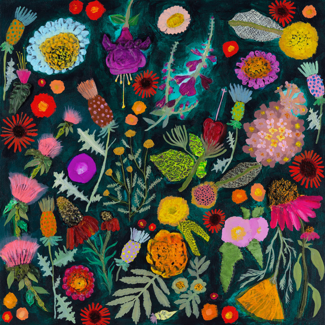 """Thistles  $950 SOLD 18""""x18""""  Oil, acrylic and fabric on canvas."""