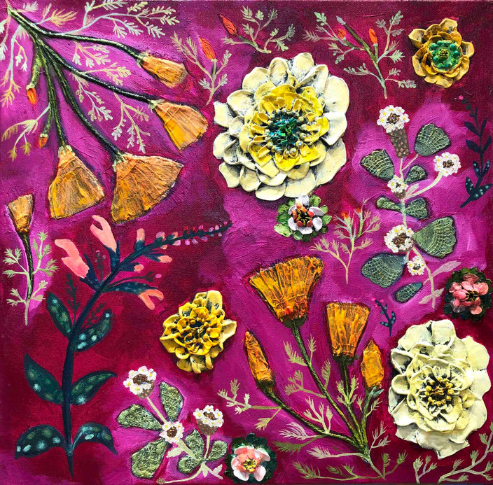 """Frog Fruit, Zinnias, Coral Sage & California Poppies  $950 SOLD 18""""x18""""  Oil, acrylic, fabric, glitter, lace and found objects on canvas."""