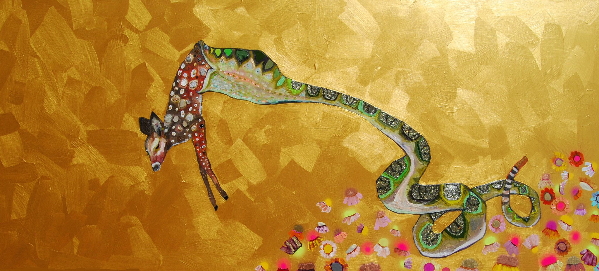 """Rattlesnake  80""""x36""""  $3800  2014  Oil, acrylic, spray paint, metal leaf, glass, mica, sand, glitter, fabric and vinyl on wood.  A rattlesnake springing from a wildflower bed to eat a delicious meal in the metallic gold sky.  This is an original oil painting. The sides are painted gloss black and there is a wire on the back so it is ready to hang with no framing needed.  Contact eli@elihalpin.com for purchasing. Payment plans accepted."""