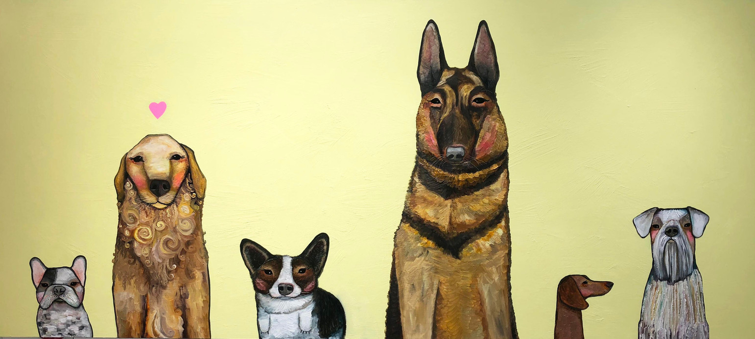 """Dogs  36"""" x 80"""" $4400 Oil and acrylic on wood. This is an original oil painting. The sides are painted gloss black and there is a wire on the back so it is ready to hang with no framing needed. Contact eli@elihalpin.com for purchasing. Payment plans accepted."""