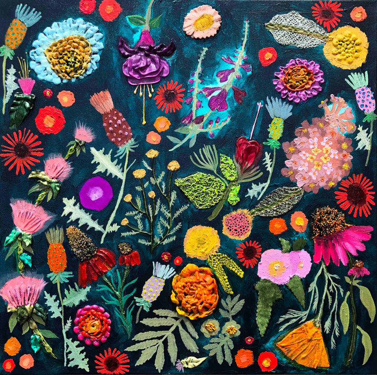 """Thistles, Mexican Hats, Bee Balm, California Poppies, Marigolds, Sundrops, Turk's Cap, Coneflowers, Santolina, Winecup, Fuschia & Desert Mallow Flowers on a Deep Turquoise Background $950 18""""x18"""" Oil, acrylic, fabric, sand, glitter, glass and found objects on canvas. This is an original oil painting. The sides are painted gloss black and there is a wire on the back. It comes ready to hang with no framing needed. Contact eli@elihalpin.com for purchasing. Payment plans accepted."""
