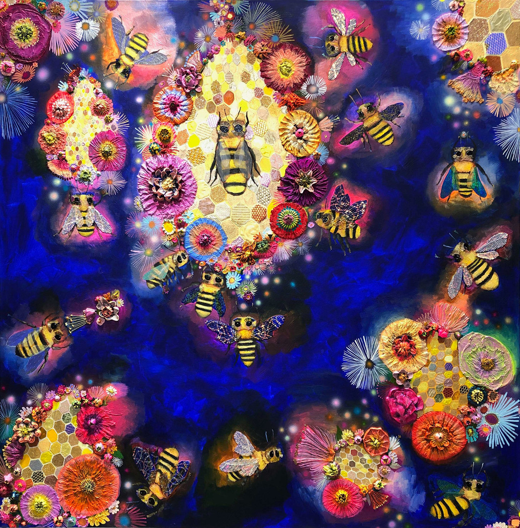 """Bees in Ball Gown Wings With Honeycomb  60"""" x 60""""  $6200 SOLD  Oil and mixed media on canvas."""