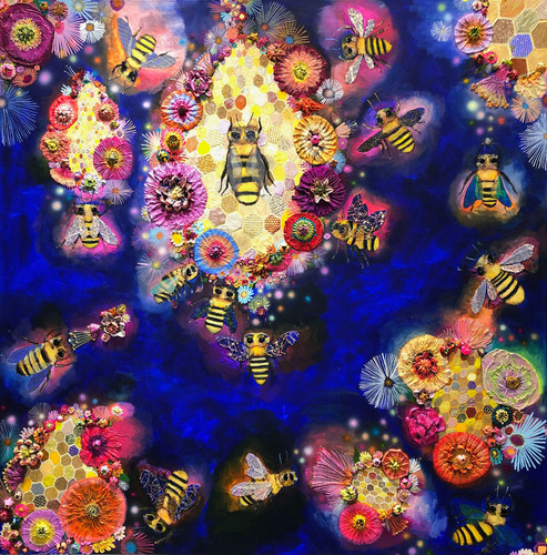 "Bees in Ball Gown Wings With Honeycomb  60"" x 60""  $6200 SOLD  Oil and mixed media on canvas."