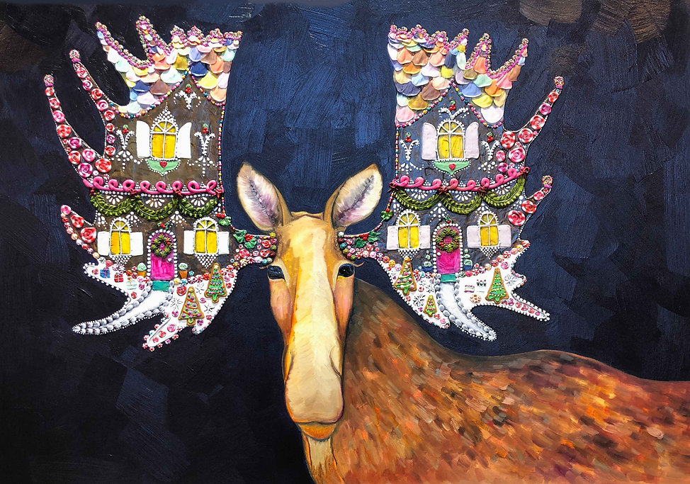 Gingerbread House Moose 2019 42x60 inche