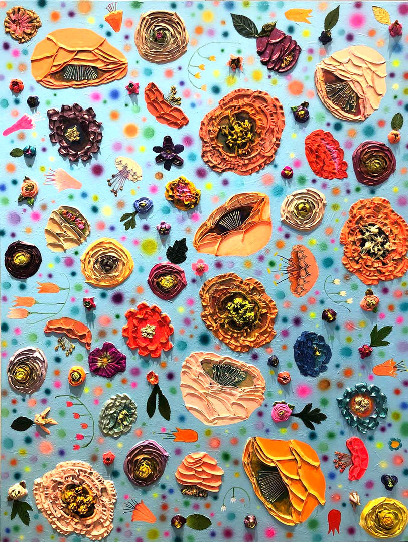 The Flowery  3'x4'  $3200  Oil, acrylic and fabric on a hand made heavy duty canvas. This is an original oil painting. The sides are painted glossy black and there is a wire on the back so it is ready to hang with no framing necessary.   To purchase this painting or request a shipping quote please contact  The Tree House  701 S Capital of Texas Hwy  Austin, TX 78746  (512) 401-3676   Payment plans are accepted.  shopthetreehouse.com