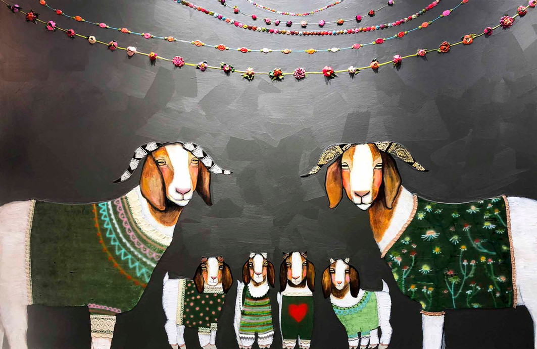Boer Goats in Sweaters $6200 Oil, acrylic, lace and velvet on canvas. This is an original oil painting. The sides are painted glossy black and there is a wire on the back so it is ready to hang with no framing necessary.  Contact eli@elihalpin.com for purchasing.