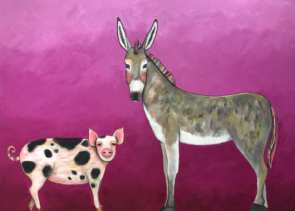 """Donkey and Pig Tails  7 ft x 5 ft   $8400  Oil, acrylic and ribbons on a heavy duty hand made 3"""" thick canvas.   To purchase this painting or request a shipping quote please contact  Shop The Tree House  13615 Ranch Rd 12  Wimberley, TX 78676  (512) 722-3315   Payment plans are accepted."""